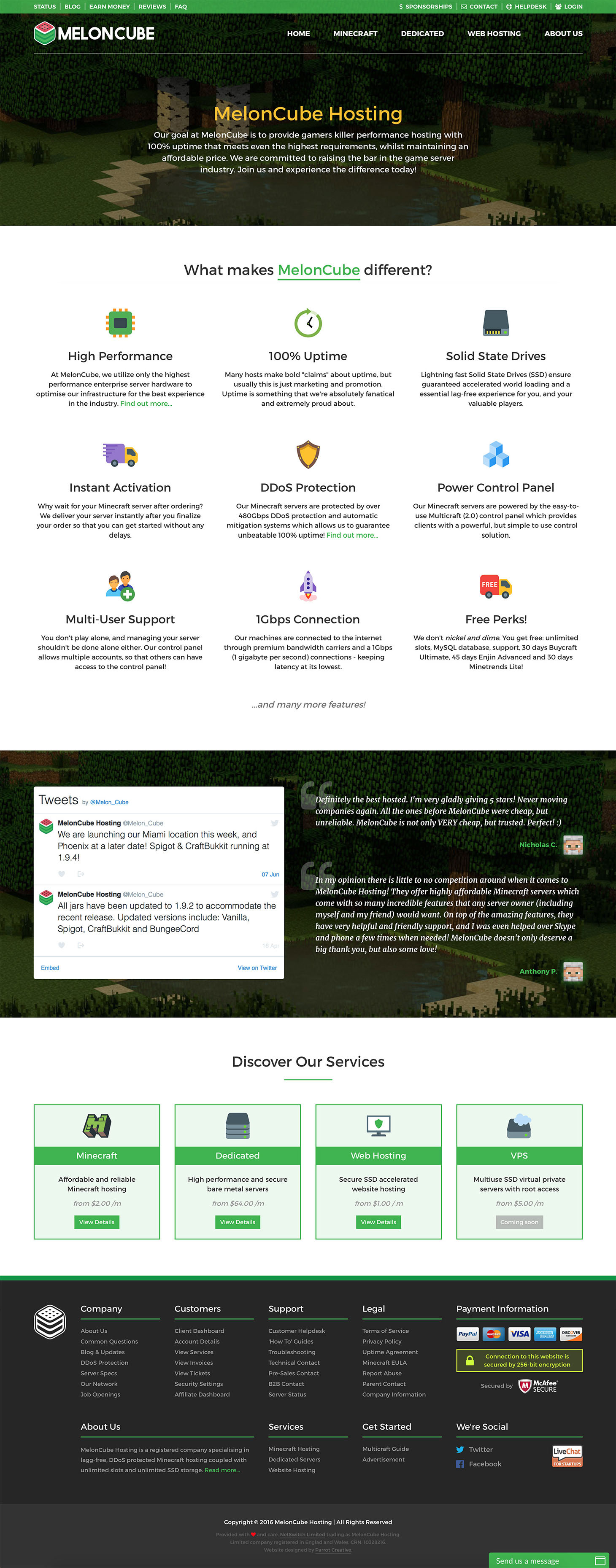 MelonCube Hosting web design - home