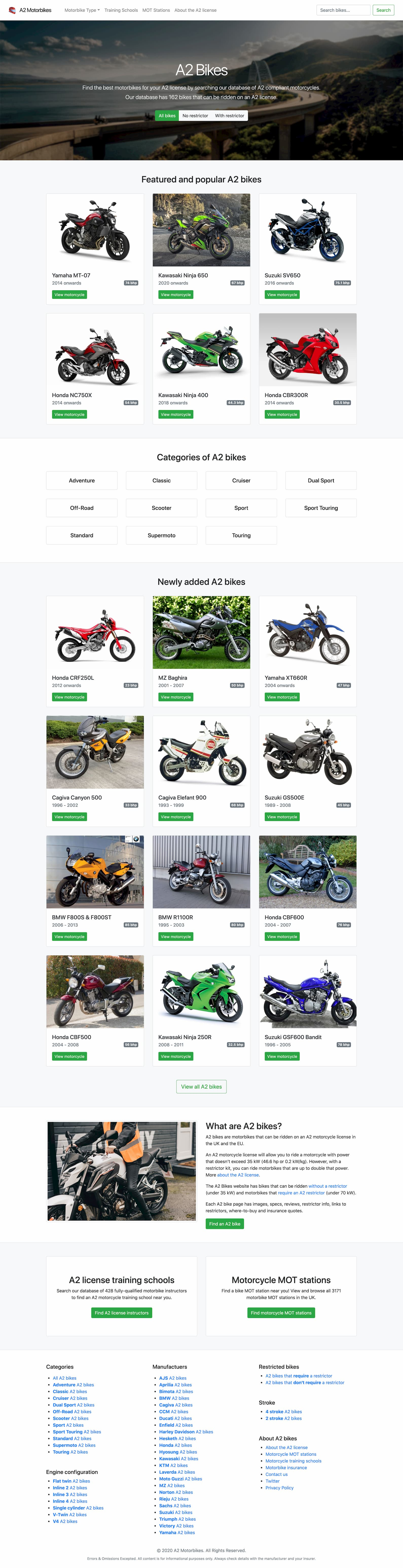 A2 Motorbikes homepage