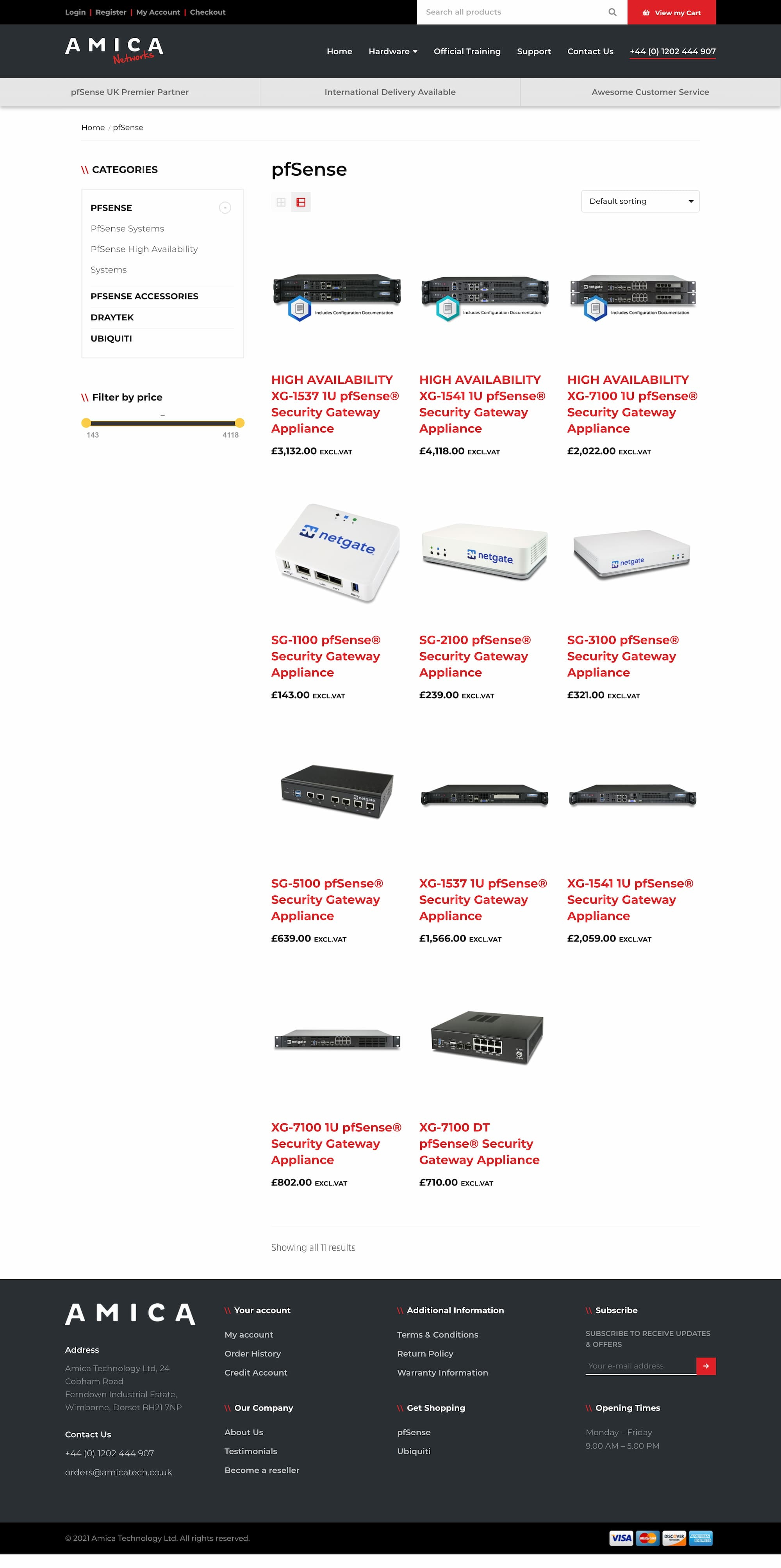Network appliances category page