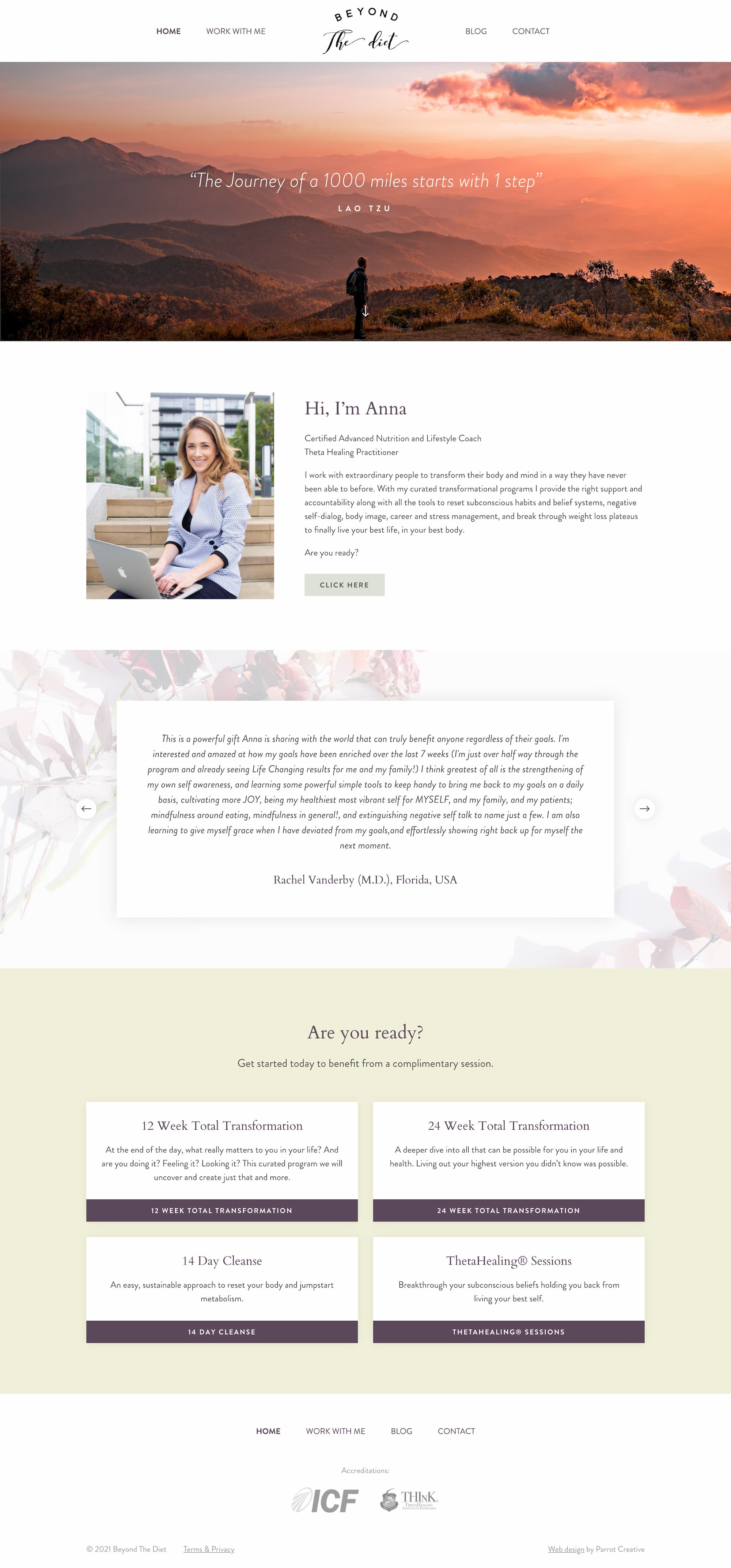 Nutritionist and lifestyle coach homepage