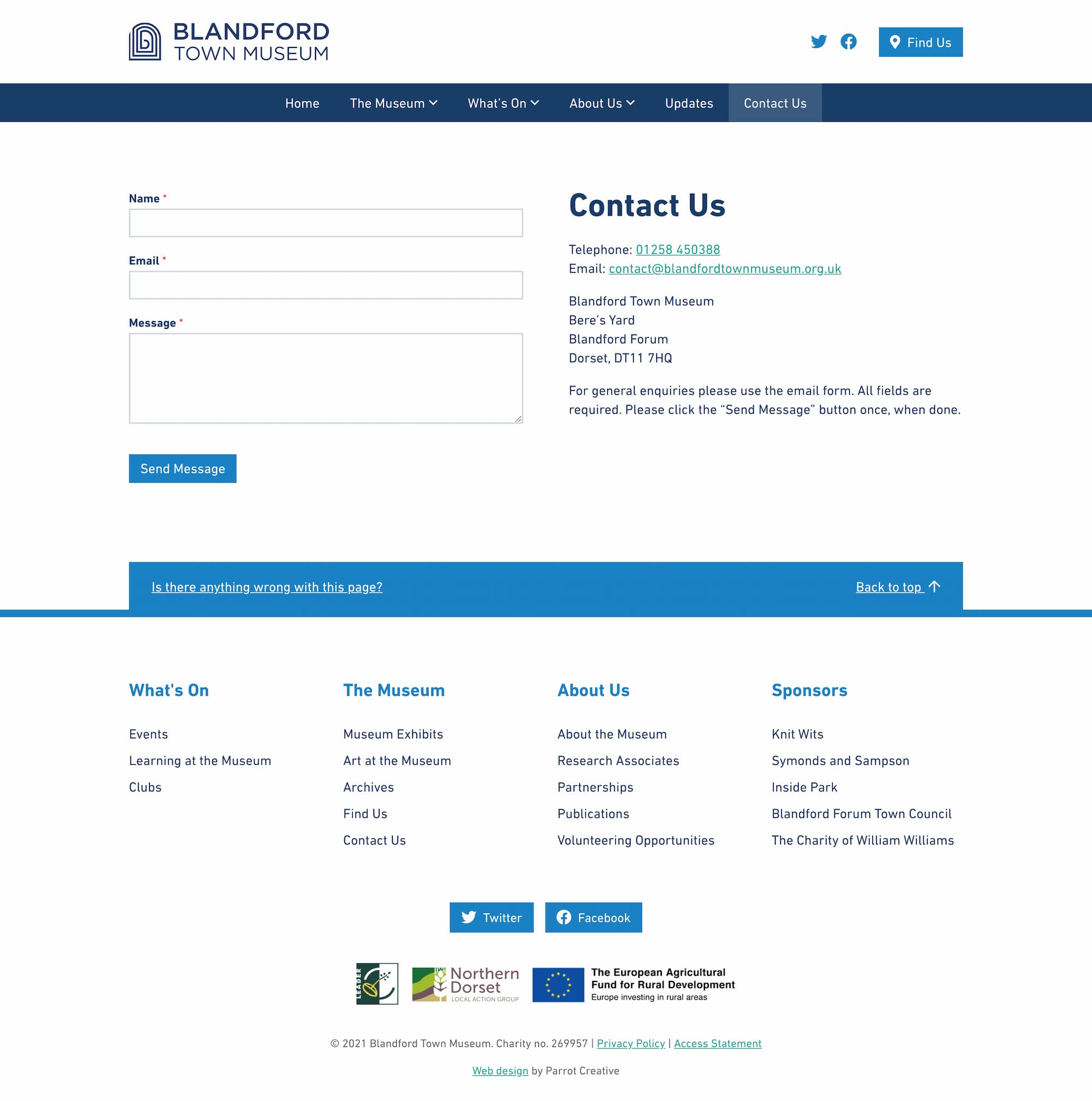 Museum contact page