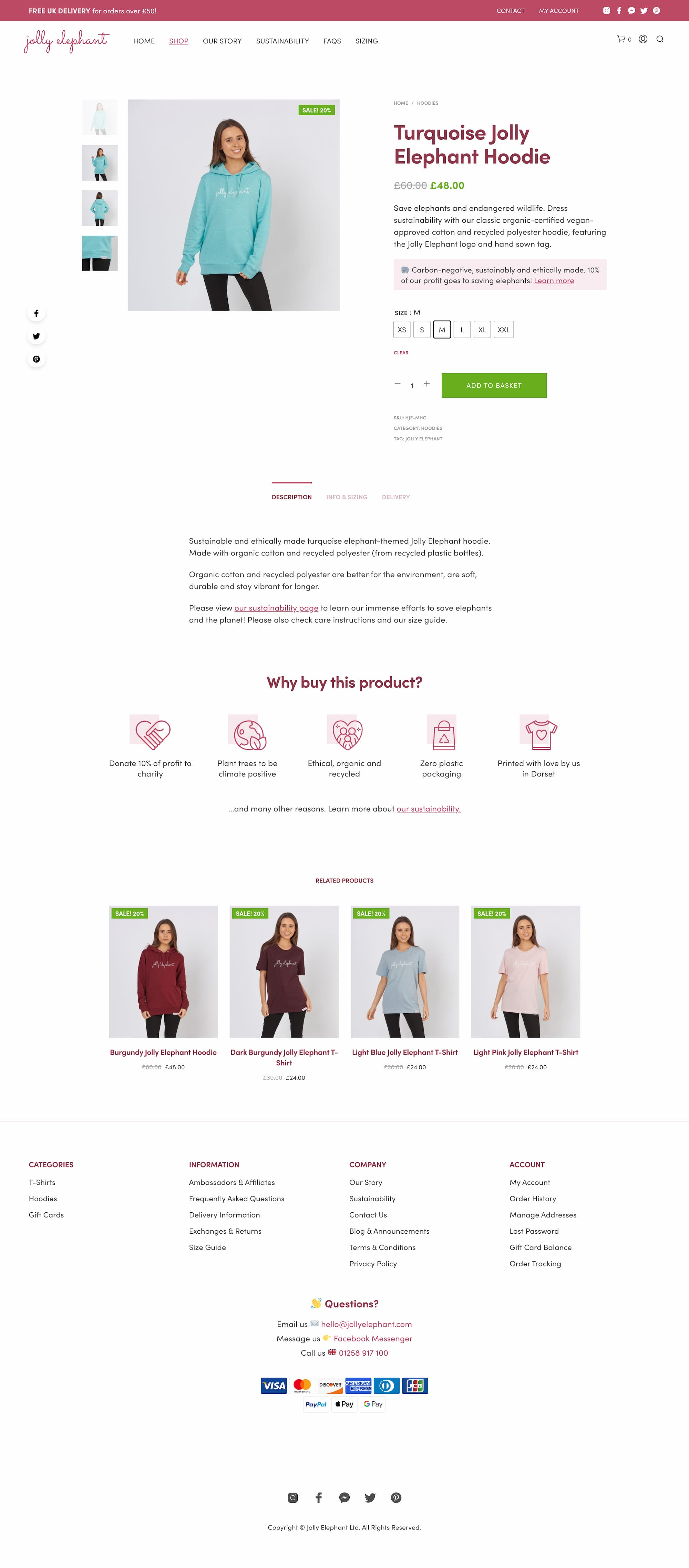 Sustainable brand website product page design