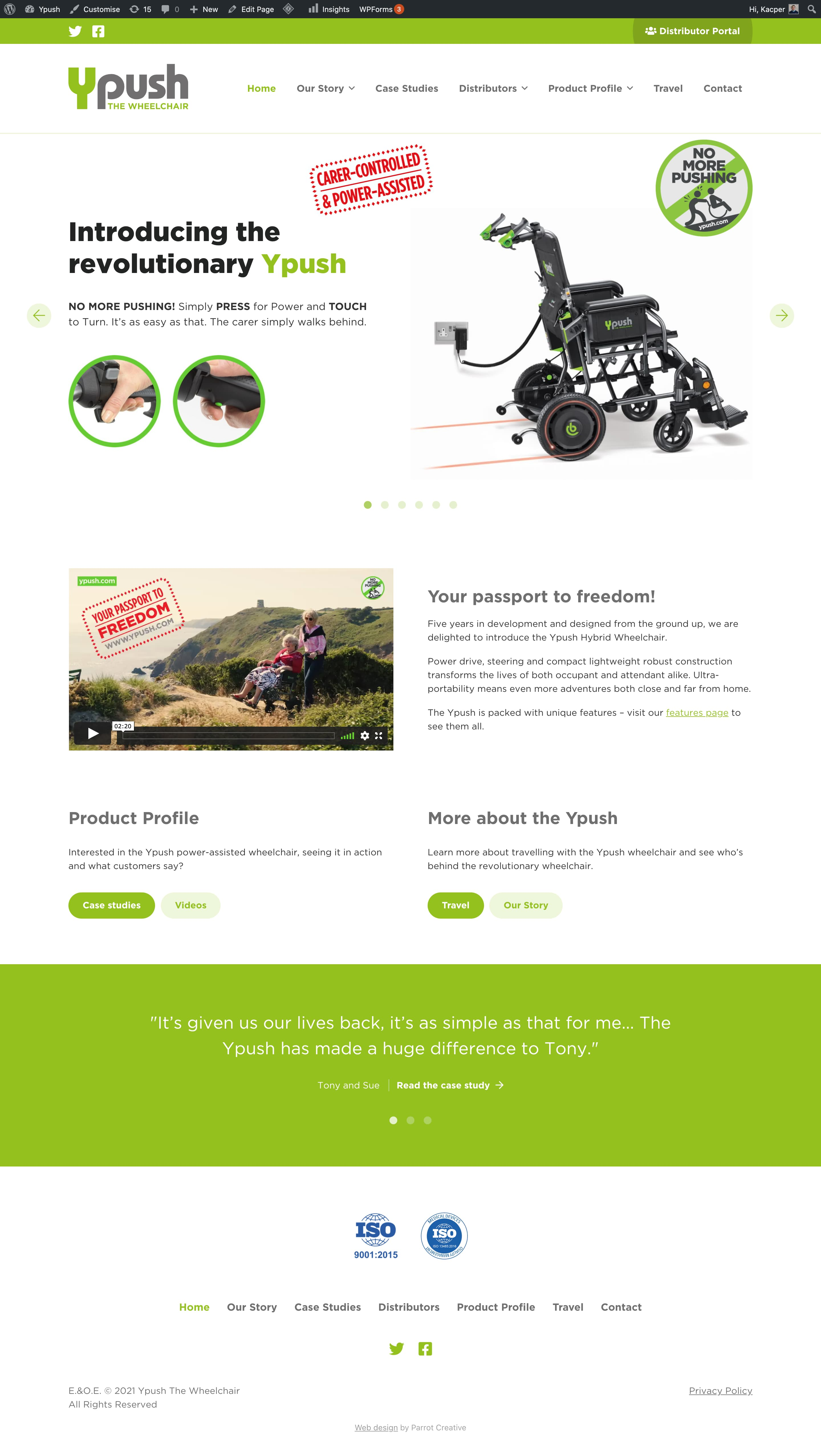 Wheelchair homepage page design